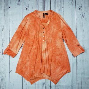 New directions Medium Orange Embroidered Blouse